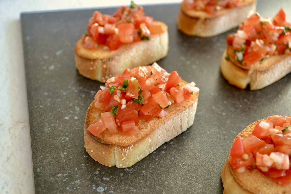 Close up van de bruschetta