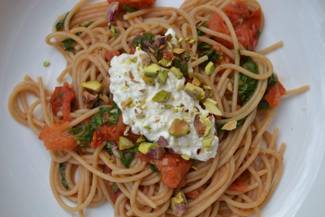 Close up van de spaghetti met citroenricotta